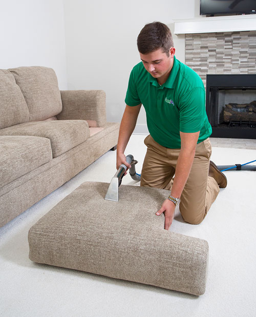 Upholstery Cleaning Technician From Clawson Chem-Dry Providing Excellent Service.